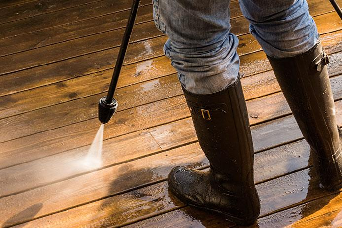 Powerwashing the deck